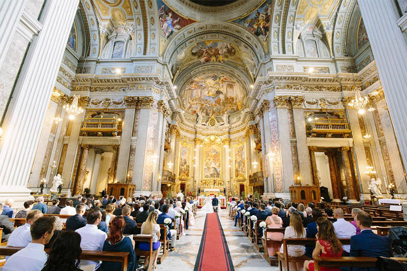 Wedding taking place in Roman cathedral