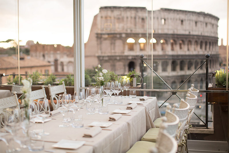 Wedding reception with view of the Colosseum