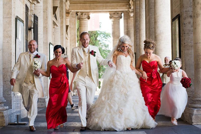 Fun photo after beautiful Italian wedding
