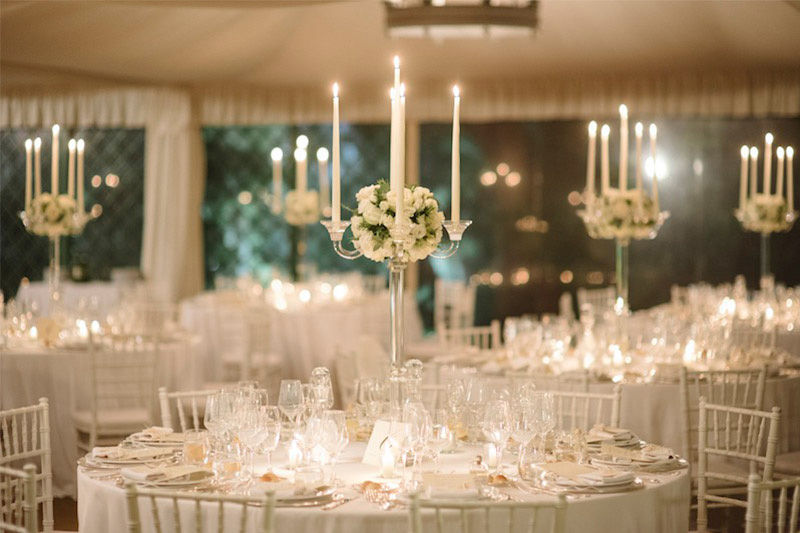 All white tables at wedding reception
