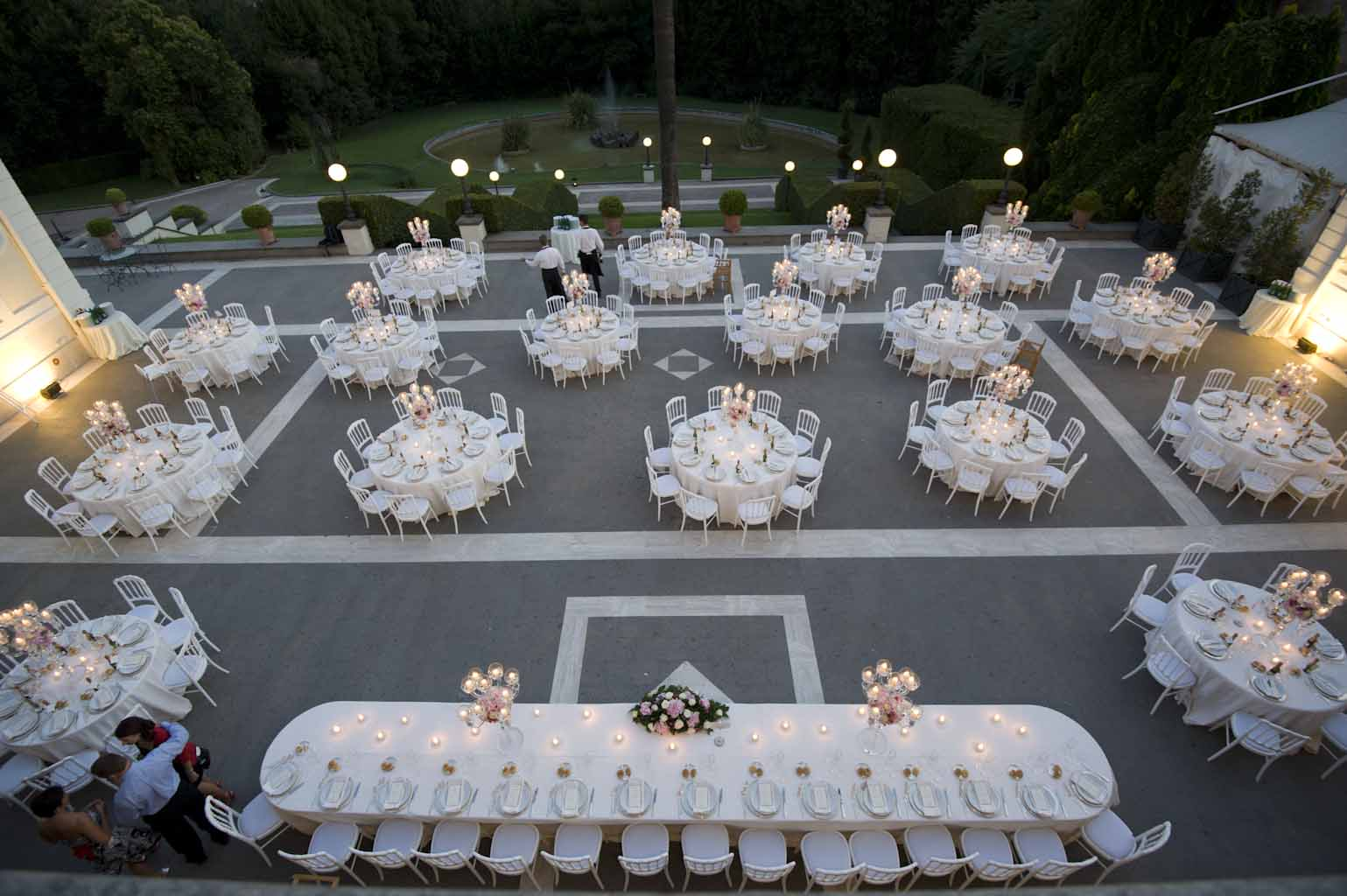 Wedding reception dinner set up