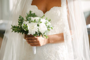 Hand-tied bouquet with no stems showing